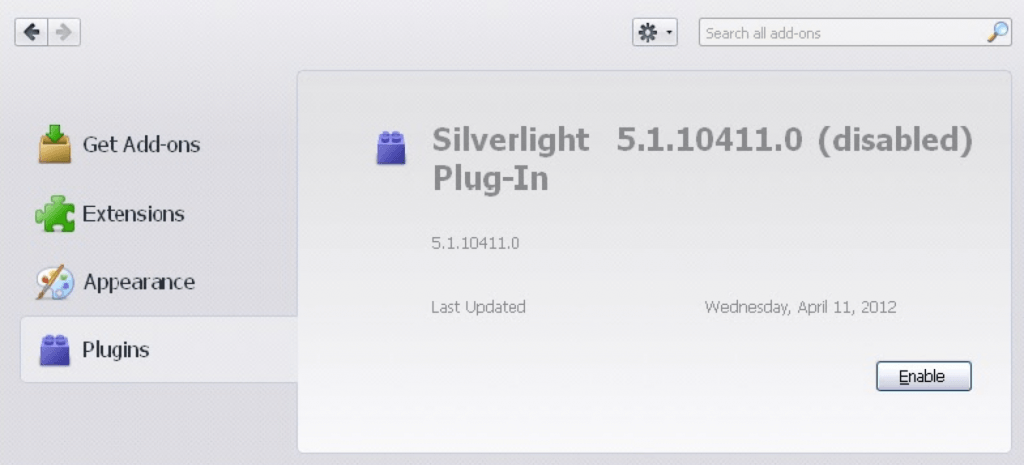 enable silverlight plugin firefox