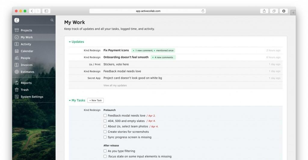 project for mac - active collab dashboard