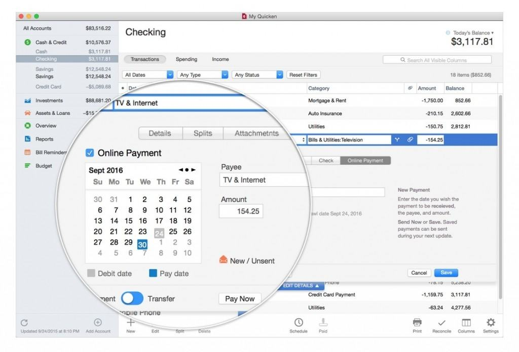 quicken for mac 2016 review - bill pay