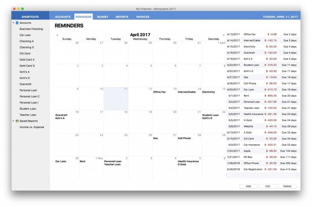 best personal finance software for mac - moneyspire bill reminders
