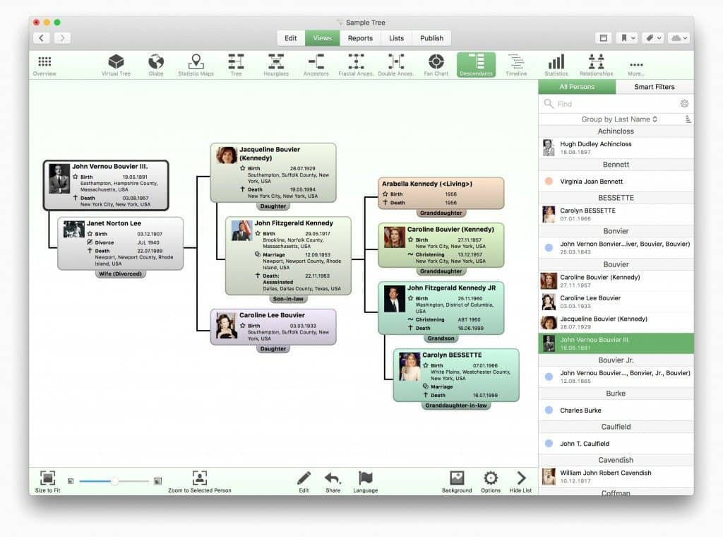 family tree software mac - macfamilytree descendants