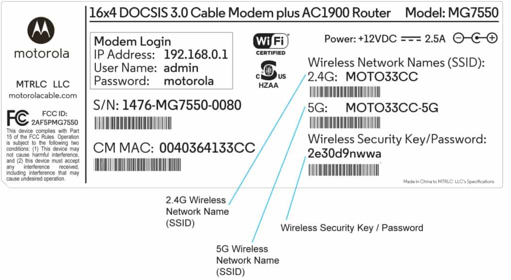 wireless router ssid password label